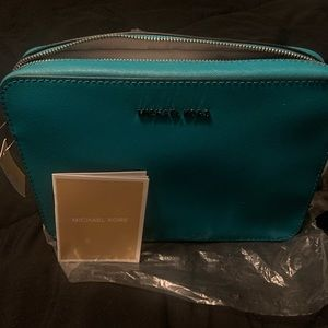Michael Kors Teal safiano crossbody bag